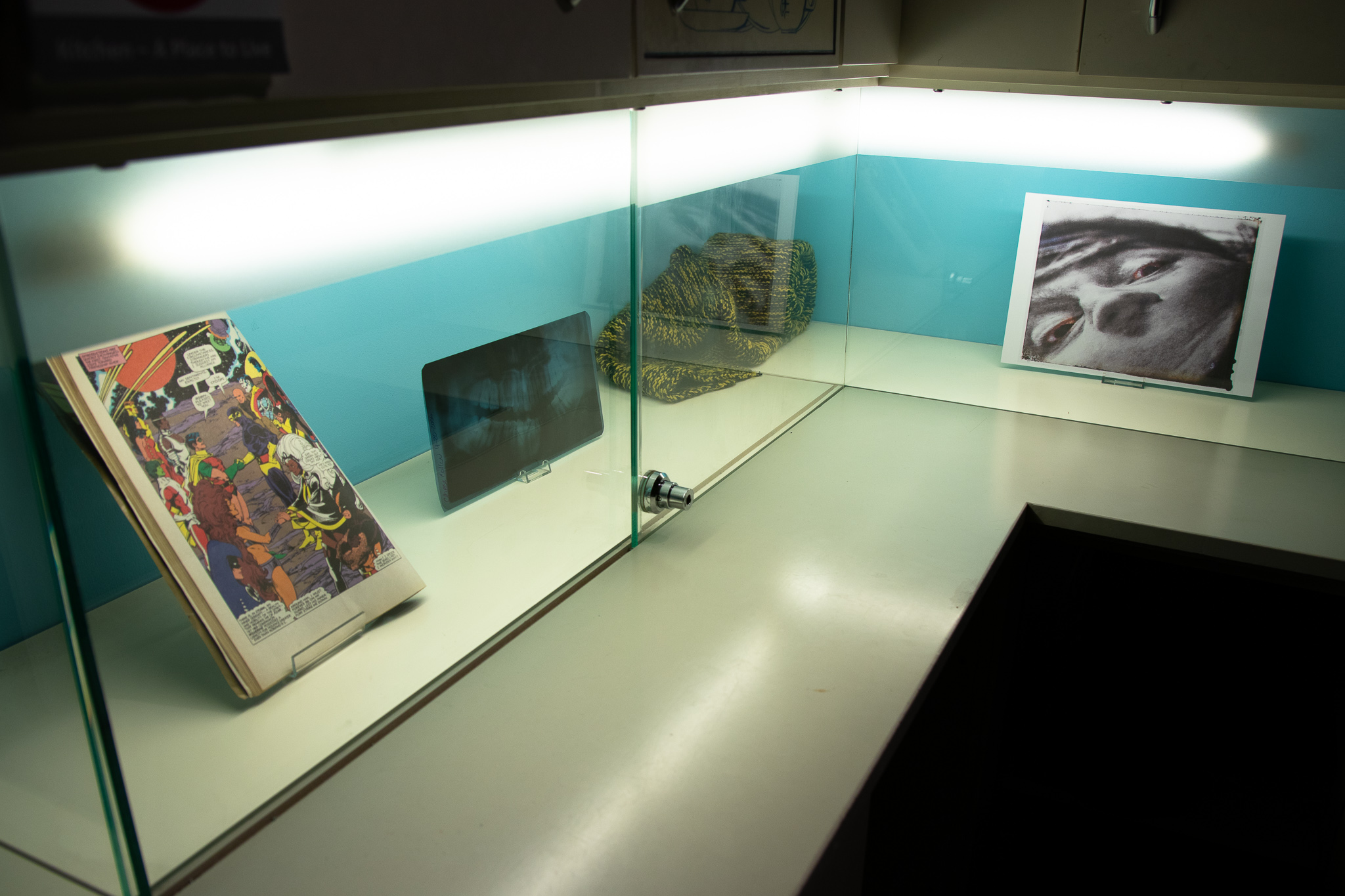 display of objects behind glass