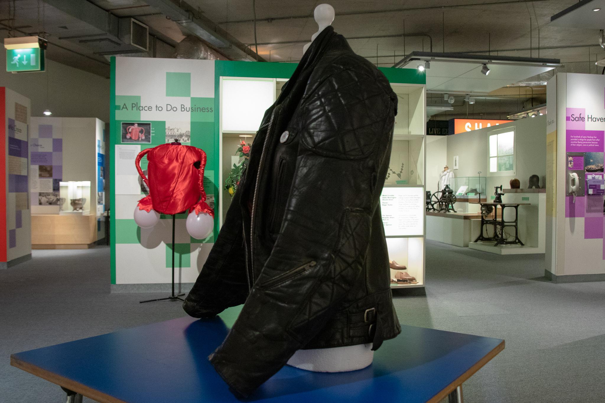 Black leather jacket, punk style