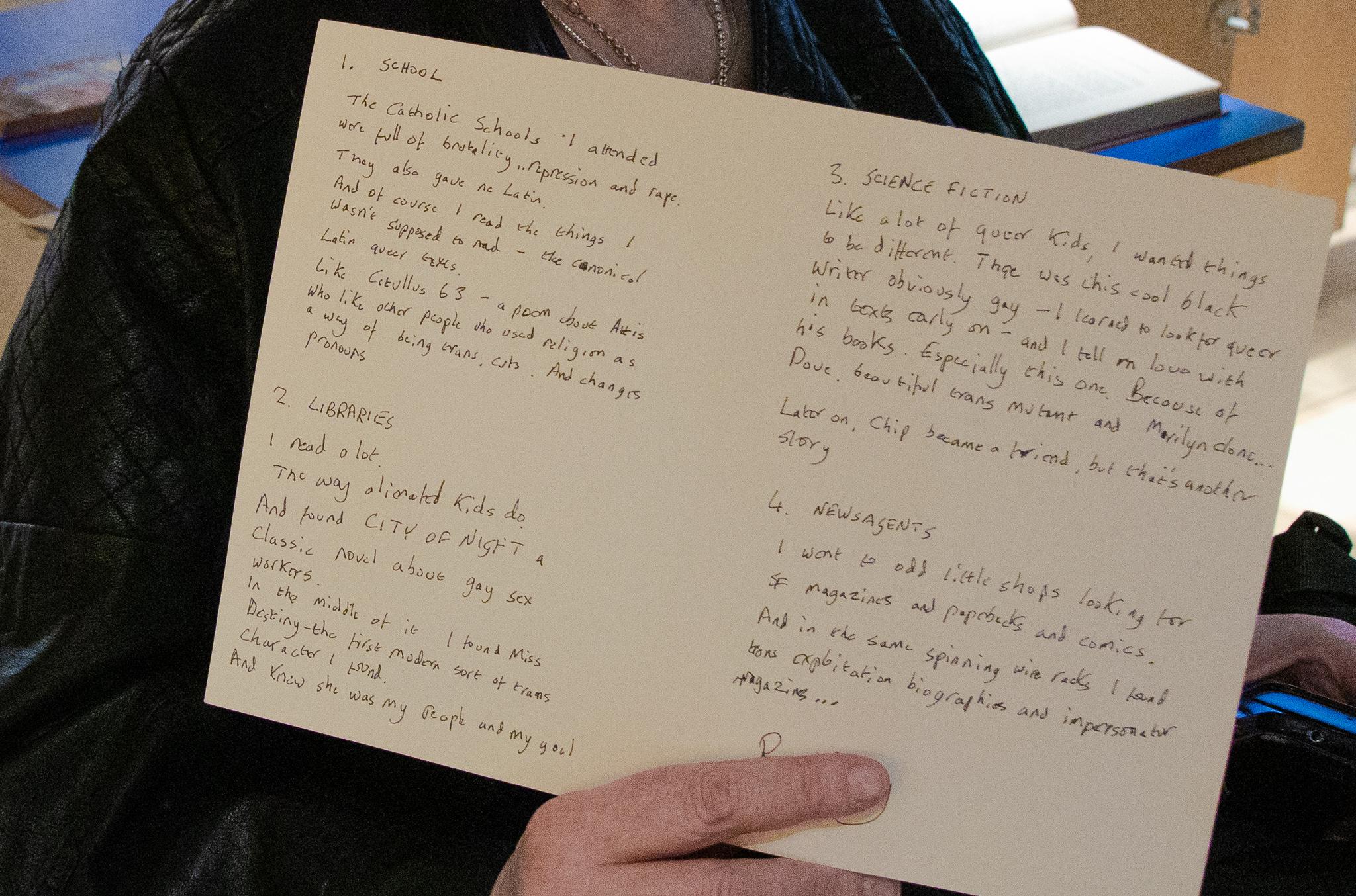 close up of handwritten text