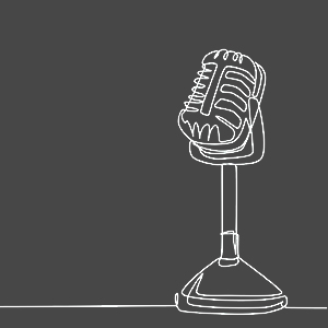 A line icon depicting a microphone symbolising live events, performances and readings