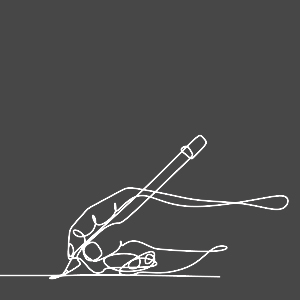 A line icon depicting a hand, holding a pencil in the process of writing