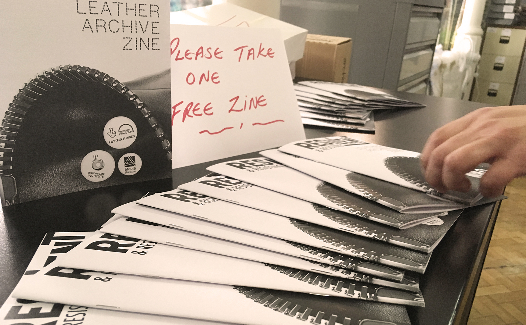 A table full of Leather Archive zines, from the event at the Bishopsgate Institute