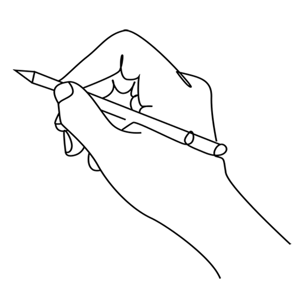 A continuous line drawing of a hand holding a pencil
