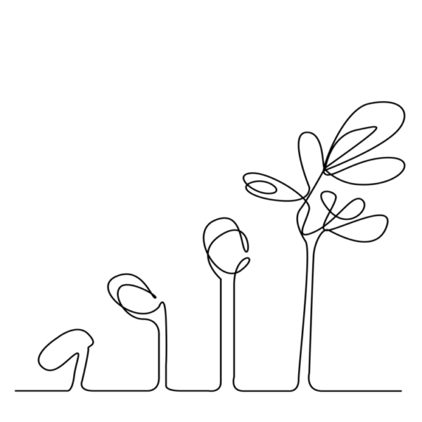 A single line doodle depicting the growth cycle of a seedling growing into a plant